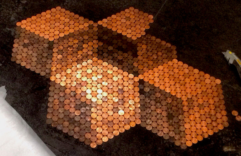 Penny-Tile-Floor-with-3D-Cube-Illusion-Created-from-Tarnishing-Levels